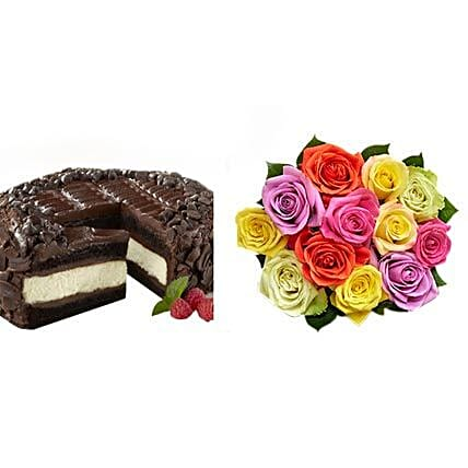 Chocolate Cheesecake and Colorful Roses