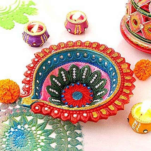 Colorful Clay Diya