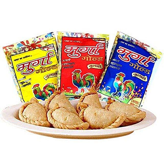 Gujiya with 3 Shades of Holi Gulal