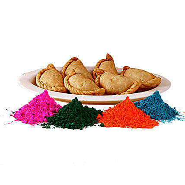 Gujjiya with Colorful Holi Gulal