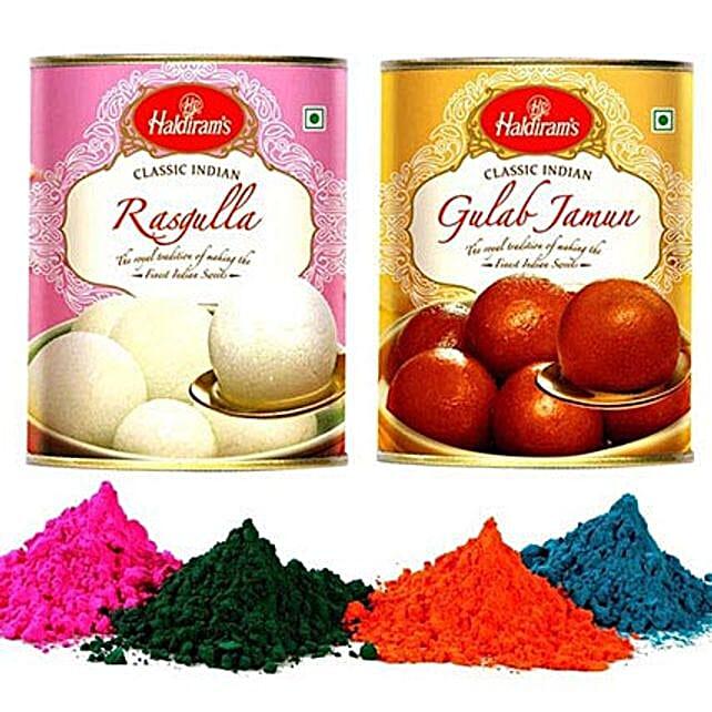 Gulab Jamun and Rasgulla with Holi Gulal