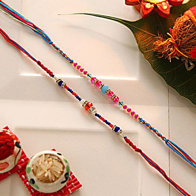 Multicolored Beaded Rakhi Set Of Two