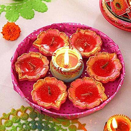 Painted Clay Diyas in a Fancy Tray