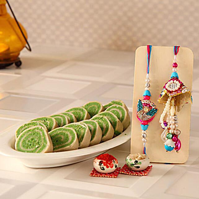 Pista Cassata With Lumba Rakhi Set