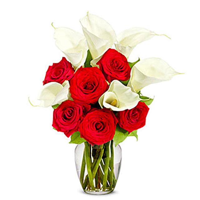 Roses N Lilies Deluxe Arrangement