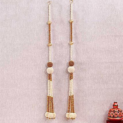 Royal White and Golden Beads Door Hanging
