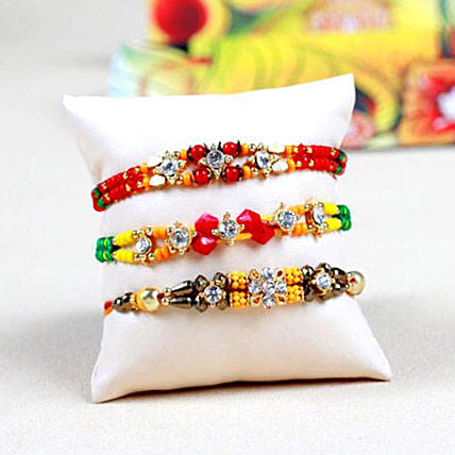 Set Of 3 Colorful Beads Rakhi