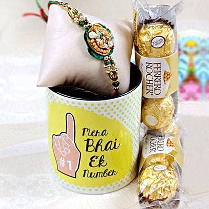Stunning Rakhi with Mug and Ferrero Rochers