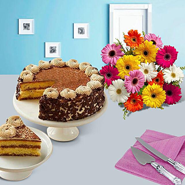Tiramisu Cake with Colorful daisies